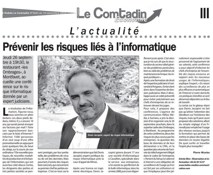Prévenir des risques liés à l'informatique - Article du Comtadin du 19 septembre 2013